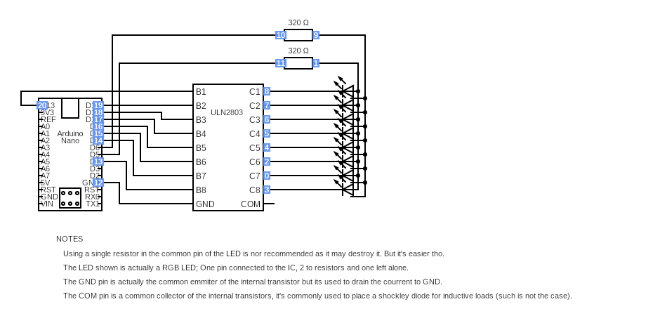 8 RGB LEDs simultaneously working Using a ULN2803