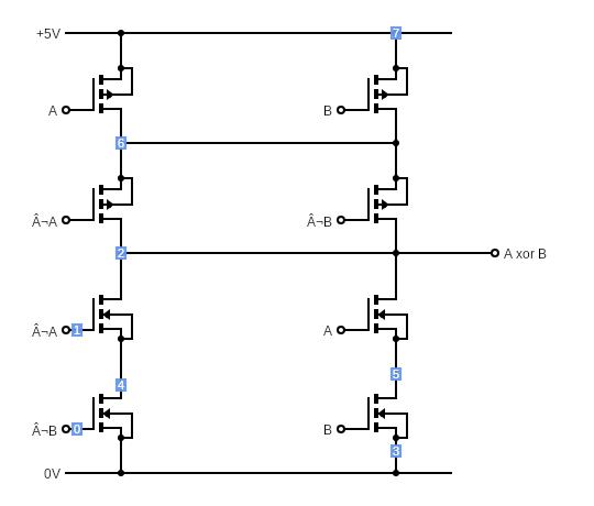 CMOS XOR Gate - Circuits - Circuit Diagram